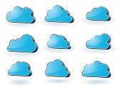 Collection of nine 3d glassy surface clouds - raster version of vector illustration