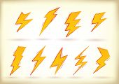 Collection of hand drawn high voltage signs - raster version of vector illustration