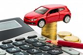 car and calculator. rising costs for car purchase, lease, workshop, refueling and insurance