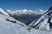 View of Pisang Peak and other snow capped mountains near Manang poster