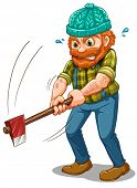 Illustration of a tired lumberjack with an axe on a white background