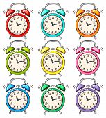 image of analog clock  - Set of ringing alarm clock - JPG