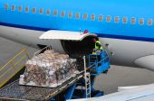 Airplane loading cargo