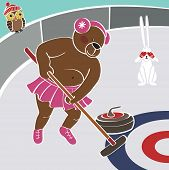 Brown Bear Tert Curling. Humorous Illustration