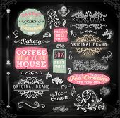 Set of vintage chalkboard bakery logo badges and labels for retro design. Chalkboard illustration variant.