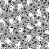 White Bear Plays Winter Sport.seamless Pattern.humor