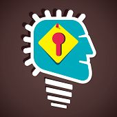 keyhole paper note pin in human head  vector