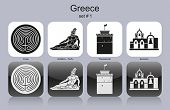 Landmarks of Greece. Set of monochrome icons. Editable vector illustration.