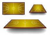 detailed illustration of basketball courts with different perspectives, eps10 vector