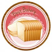 Illustration of a best bakery label with a loaf of bread on a white background
