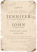 Vector distressed parchment wedding invite template. Great for invitations and announcements.