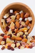 Bowl with dried fruits for a healthy diet
