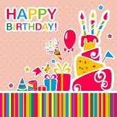 image of ice-cake  - Happy birthday card with cake and gifts - JPG