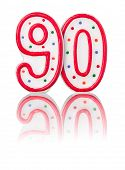 Red number 90 on a white background with reflection