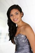 image of quinceanera  - Teenage girl set against a white background - JPG