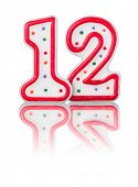 Red number 12 on a white background with reflection