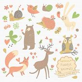 Funny set of cute wild animals in the forest: fox, bear, hedgehog, rabbit, snail, deer, owl, bird, mouse. Vintage set