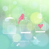 Stylish modern wedding invitation in vector. Bird, cages and butterflies on stylish concept background in warm colors