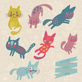 Seven funny kittens in cartoon style. Cats smiling and playing in vector set. Childish illustration