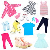 Collage of kids clothing isolated on white