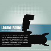 Photography vector background with a silhouette camera with flash and a place for text content. Can