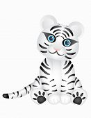 stock photo of white-tiger  - Vector image of a cute white tiger - JPG