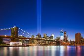 stock photo of memorial  - New York City with September 11 Tribute in Light Memorial - JPG