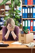 Dismissed Woman Crying, Sitting At Your Desk