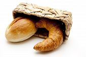 Croissants with wheat bread roll