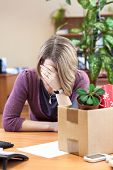 Layoff At Work, Woman Employee Upset With Things To Take Away