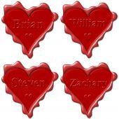 Постер, плакат: Валентина Любовь сердца с именами: Брайан Уильям Стивен Закари