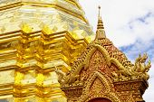 chedi luang temple in chiang mai , close up
