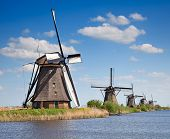 picture of windmills  - Ancient windmills near Kinderdijk - JPG