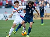 CARSON, CA. - FEB 01: USA M Mix Diskerud #8 & Korea M Jong-Woo Park #22 during the U.S. mens nationa