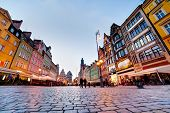 Wroclaw, Poland. The market square with colorful historical buildings at the evening. Silesia region.