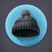 Beanie black cap, long shadow vector icon