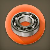 Ball bearing, long shadow vector icon