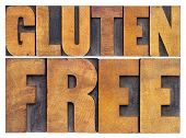 gluten free. dietary concept - isolated text in vintage letterpress wood type