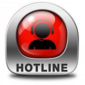 hotline red icon call center button or helpline sign for online customer support