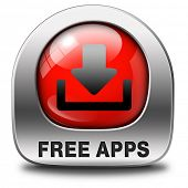 apps for free, gratis download of apps button, icon or sign