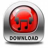 Music download red button or icon to play and to listen live stream or for download song