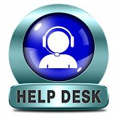 help desk blue icon or button or online support call center customer service