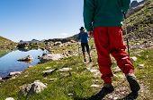 couple hiking in mountain range