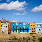 Colorful houses in Villajoyosa La vila Joiosa Alicante at Mediterranean Spain
