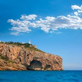 Cabo de la Nao Cape lighthouse in mediterranean sea Alicante Spain