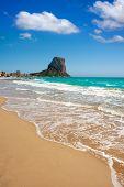 Calpe Alicante Arenal Bol beach with Penon de Ifach mountain in Mediterranean sea of Spain