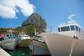 Calpe Alicante fisherboats with Penon de Ifach in Mediterranean Spain