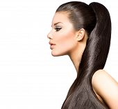 Beauty Brunette Fashion Model Girl with Long Healthy Straight Brown Hair, Ponytail Hairstyle. Beauti