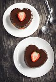 Heart Shaped Cakes With Chocolate And Strawberry