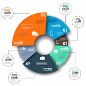 picture of pie  - Modern paper infographics in a pie chart for web - JPG